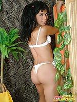 Brunette shemale hottie Yris Schimit stripping