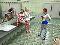 Shemale Schoolgirls Screwing in the Bathroom