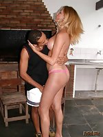 Nude Busty Tanned Tgirl Assfucked On Stool