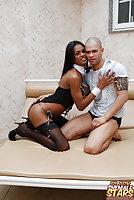 Ebony Girl In Stockings Rides Cock Till Cumshot