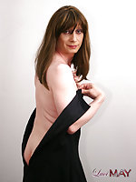 Horny Tranny In Minidress Posing & Undressing