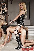 Blonde dominatrix fucks & facializes slave