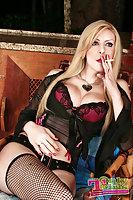Blondie In Thong Teasing & Jerking Cock