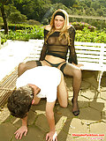 Black-stockinged Tranny Ready To Bone Guy Anus