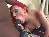 Ebony lover fucks hot redhead TS butthole
