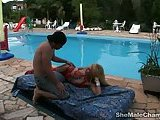 Shemale in red stockings gets her anal by pool