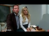 Busty blonde tranny fucks guy on a desk in office