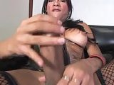 Titty Tgirl with huge dick solo