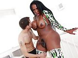Ebony tranny sucks and tit fucks