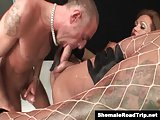 Latin Tgirl Mirella is sucked and fucked