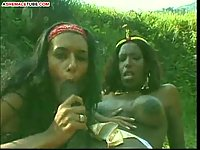 Two tranny sluts have outdoor sex
