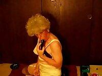 Granny Crossdresser Dildo Fucking