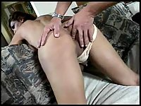 Tranny takes facial after fingered anal fucking