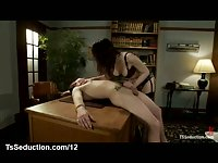 Tranny in stockings fucks student