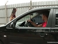Tranny hooker with sweet ass earns her the big bucks