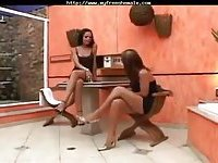 Two latina Tsluts banging poolside
