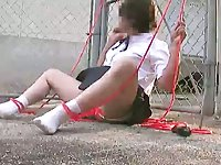 Japanese CD hands free cumshot outdoors