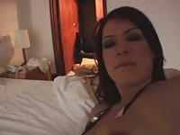 Pretty Redhaired Colombian TS Jerking Off