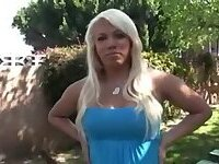 Blonde TS beauty with huge boobs solo