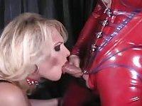 Busty blonde shemale bondaged
