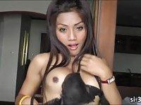 Luscious ladyboy Nong shoots sticky jizz