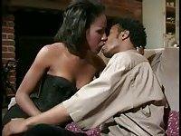 Ebony couple sex on a sofa