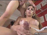 Slim and sexy shemale Raissa Nevada ass fucked and cums