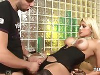 Horny lingeried blonde gets deep penetrated