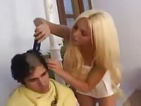 Blonde TS hairdresser fucks her client