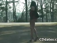 Naughty crossdresser outdoor