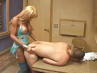 Busty blonde tranny fucks with guy