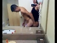 Tempting Latina tops a naked guy