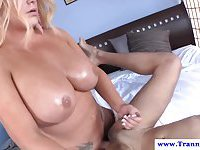 Chubby tanned shemale makes a skinny boy lick her balls