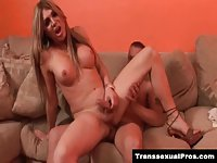 TS Carmen Cruz riding a big dick