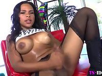Black tgirl tugs dick and toys