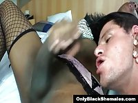 Ebony TS Perla Lohan cums in guys mouth