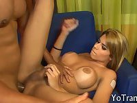 Superb blonde tranny got a rimjob in a hot anal session