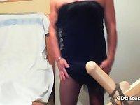 Horny crossdresser fucks dildo