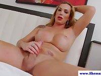 Bigtit tranny tugging her hard cock