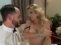 Blonde Mistress Fucks Man Slave