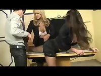 Crazy office threesome fun