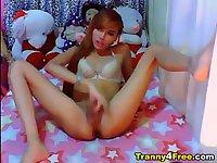 Amateur Asian Tts wanks off