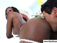 Black tranny TS being ass fucked