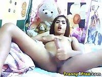 Sexy Trannny Strokes her Big Cock