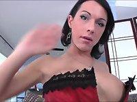 Filthy tgirl vixen Danika Dreamz puts up a sweet masturbation show