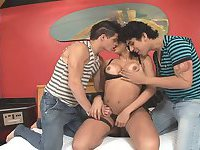 Busty shemale bitch pleases two guys