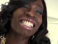 Ebony tranny Brii jerks off her thick dick in solo masturbation
