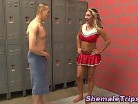 Cheerleader tgirl guzzled