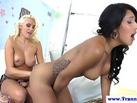 Sexy shemale assfucked with a strapon