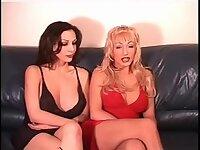 Blonde and brunette tgirls anal pleasure